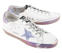 Flache Leder-Sneaker  // Superstar Sparkle White
