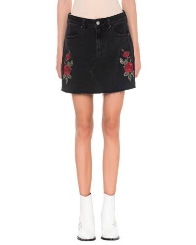 Jeans-Minirock mit Rosen