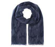 Kaschmir-Schal mit Print  // Fine Ring Camou Blue