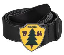 Glattleder-Gürtel mit Logo-Schnalle  // Pine Black