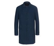 Baumwoll-Mantel mit Leder-Details  // ZIG 701 Navy Blue