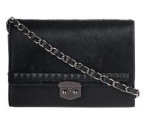 Leder-Umhängetasche mit Fell-Besatz  // Rochester Mini I Black
