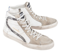 Veloursleder-High-Top Sneaker  // Slide Lavagna Suede White Star