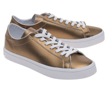Flache Leder-Sneakers  // Court Vantage Copper Metallic