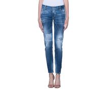 Destroyed Skinny-Jeans  // Medium Waist Skinny Jean Blue