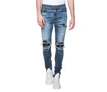 Schmale Jeans mit Leder-Details