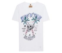Meliertes Baumwoll-T-Shirt mit Print  // Surf Skull White