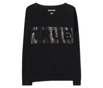 Sweatshirt mit Strassstein-Verzierung  // Crew Double Black