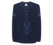 Baumwoll-Bluse  // Festival Embroidery Dark Denim