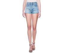 High-Waist Jeans Shorts  // Open Seams Light Blue