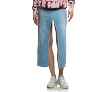 Washed-Out Jeans-Rock mit Schlitzen