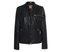 Lederjacke mit Stickerei und Pailletten  // Leather Eagle Jet Black