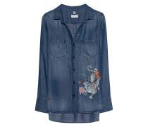 Lyocell-Bluse mit Print  // Tiger Denim Blue