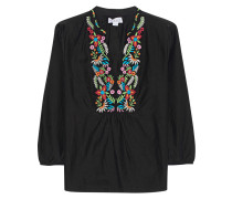 Baumwoll-Seidenbluse mit Stickerei  // Tunic Flower Embroidery Black