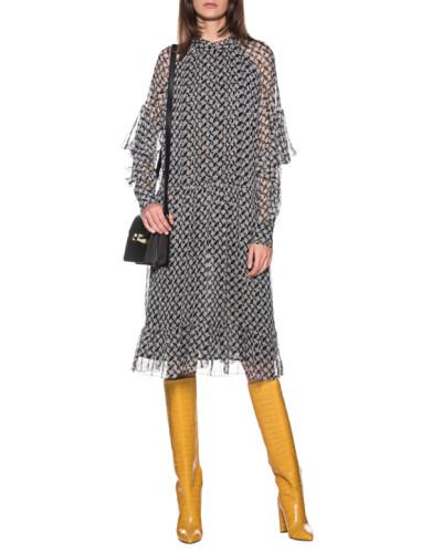 Seiden-Mix Kleid mit Kufiya Lurex Print
