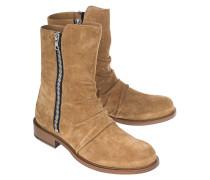 Veloursleder-Boots  // Stack Cognac