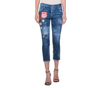 Cropped Jeans mit Patches  // Cool Girl Crop Patches Blue