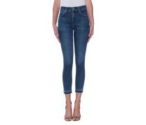 Cleane Skinny-Jeans mit Fransensaum  // Rocket Crop High Rise Skinny Hotline