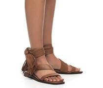 Leder-Sandale mit Fransen-Details