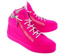Veloursleder-Sneaker mit Zippern  // May London Total Flok Ricamo Fluo Pink