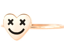 18 Karat Roségold-Ring  // Heart Crazy Eye Smiley Black