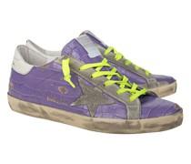 Leder-Sneaker in Kroko-Optik