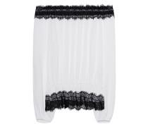 Spitzenbesetzte Viskose-Bluse  // Lace Hem White