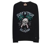 Meliertes Baumwoll-Longsleeve mit Print  // Surf Skull Long Black