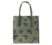 Bedruckter Veloursleder-Shopper  // Amelia Butterfly Shopper Malachite Green