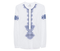 Baumwoll-Bluse  // Festival Embroidery White