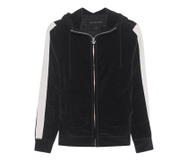 Hooded Zip Stripe Jet Black