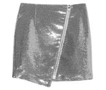 Pailletten-Minirock  // Asymmetric Zip Mini Skirt Sequins Silver