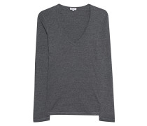 Schmales Jersey-Longsleeve  // One and One V-Neck Anthra