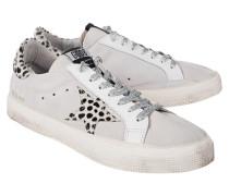 Flache Ledersneaker  // May Leo Star White