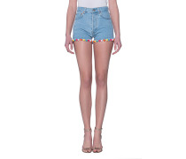 Jeans-Shorts mit Pompom-Saum  // Pon Pon Blue