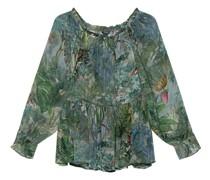 Off-Shoulder Bluse mit Dschungel-Print