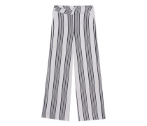Gestreifte Viskose-Mix-Hose  // Philippa Light Grey