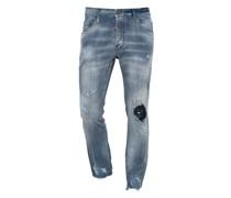 Washed-Out Slim-Fit Jeans mit Farbklecksen