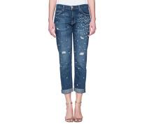Gerade Jeans mit Perlen-Verzierung