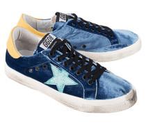 Flache Sneaker mit Samt-Besatz  // May Bluette Velvet Aquamarine Star