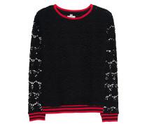 Sweatshirt mit Spitzen-Elementen  // Flower Lace Black