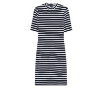 Gestreiftes Samt-Kleid  // Mock Neck Stripe Navy