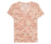 Camouflage-Leinen-Mix T-Shirt