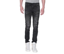Slim Fit Jeans im Biker-Look  // Rocco Biker Relaxed Skinny Black