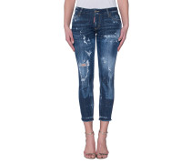 Skinny Jeans mit Destroyed-Details  // Medium Waist Skinny Cropped Jean