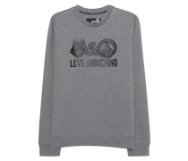 Sweatshirt mit Logo-Print  // Logo Cotton Grey