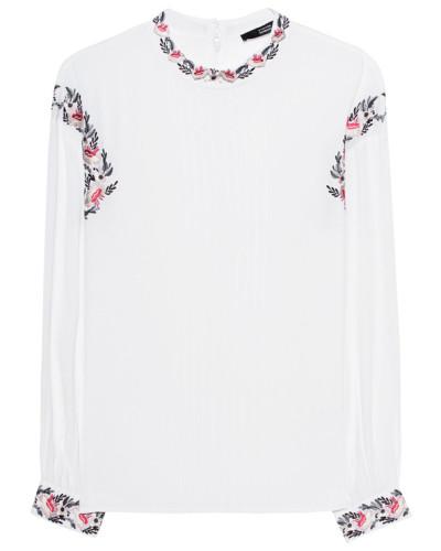 Bestickte Viskose-Langarmbluse  // Embroidery White