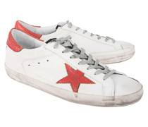 Flache Leder-Sneakers  // Superstar Red White