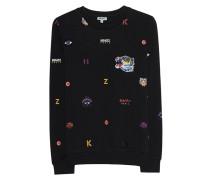 Baumwolle-Sweater mit Logo-Stickereien  // Allover Multi Icons Black