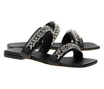 Leder-Sandalette mit Ketten-Details